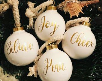 Set of 4 ornaments/believe ornament/joy ornament/ peace ornament/cheer ornament/ nautical ornament