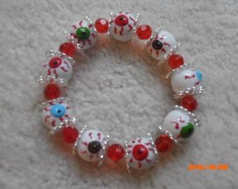 BLOOD SHOT EYES Halloween Beaded Bracelet