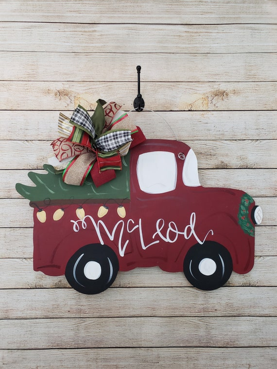 Old Red Truck With Christmas Tree In Back.Red Truck With Christmas Tree Door Hanger Vintage Truck Christmas Lights Wood Mdf Winter Front Door Decor Personalized