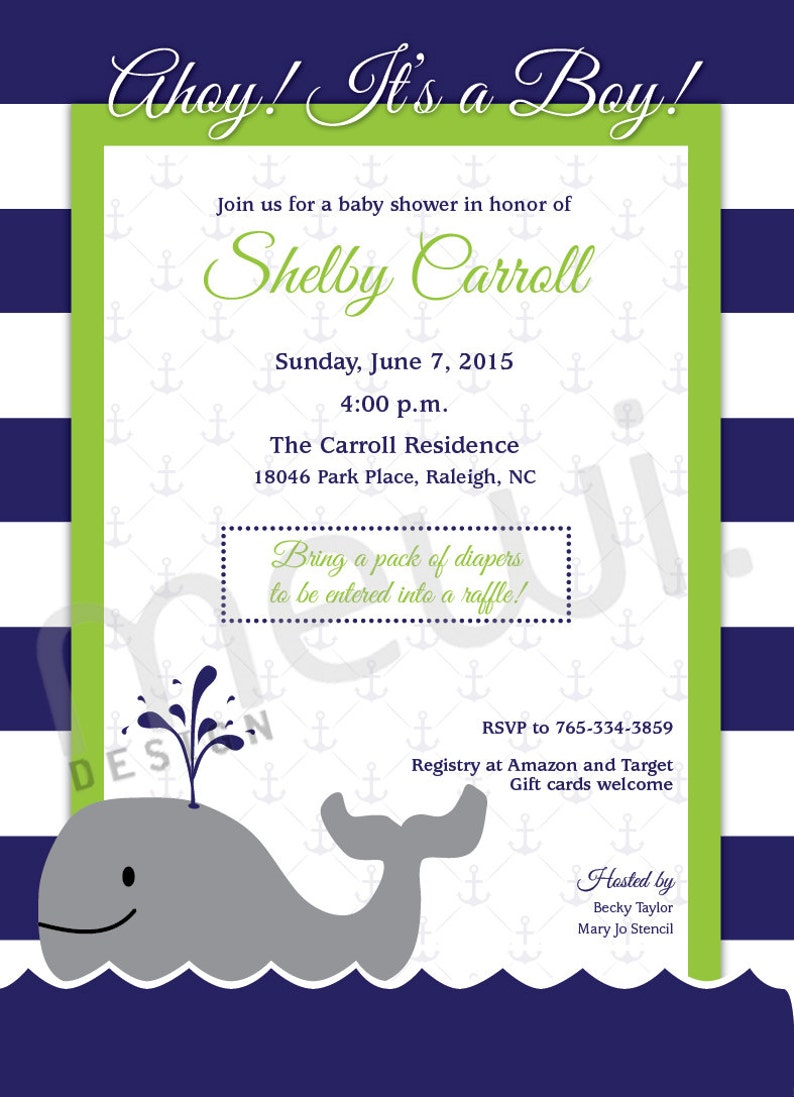 Nautical or Whale Baby Shower Invitation CUSTOM PRINTABLE image 0