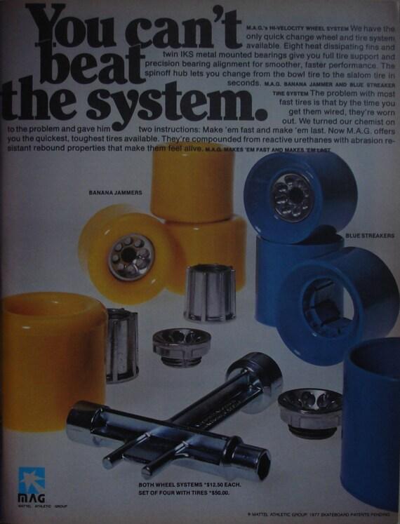 Outil de Mag Vintage par Mattel Skate Skateboard roues Skateboarder Magazine Photo Page janvier 1978 NOS