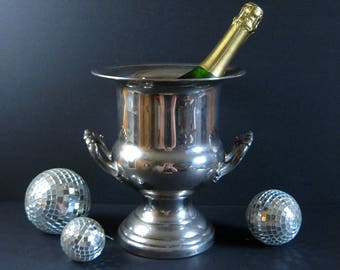Vintage Champagne Ice Bucket - Silver Plate Brass Urn with Handles - Large Silver Planter - Vintage Barware Wine Cooler Cocktail Party Decor