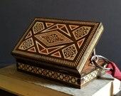 Inlaid Wood Box - Vintage Wood Mosaic Art Box - Wood Inlay Marquetry Cigarette Box - Office Desk Decor - Small Jewelry Box Secret Stash Box