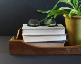 Vintage Wood Paper Tray w Dovetail Corners - Wood Office Decor - Desk Organizer - Wood Serving Tray - Mid Century Home Decor Wood Valet Tray