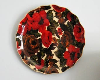 """Vintage Fab Tray - 17"""" Large Round Serving Tray - Mid Century Modern Home Decor - Red Flower Print Cocktail Tray - Floral Kitchen Wall Decor"""