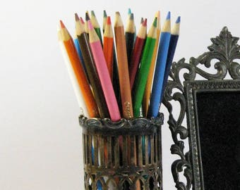 Vintage Gorham Electroplate Silver Filigree Glass Cup Holder - 1901 Antique Silver Plate Pencil Holder - Desk Organizer - Silver Home Decor
