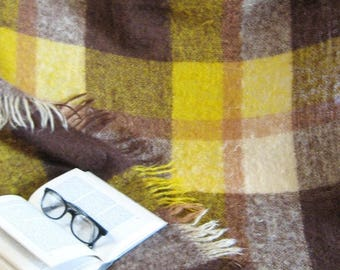 Vintage Mohair Plaid Blanket - Yellow and Brown Fringed Blanket - Made in Scotland - Gold Home Decor - Dorm Room Decor - Cozy Throw Blanket