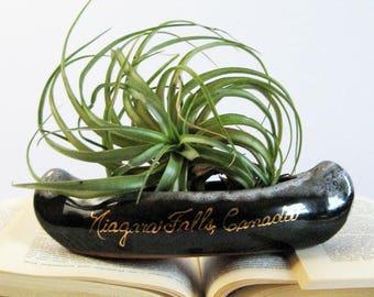 Vintage Ceramic Canoe Planter - Mid Century Pottery - Canadian Souvenir - Indoor Garden Decor - Air Plant Holder Succulent Pot - Cabin Decor