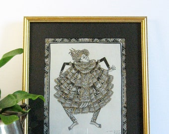 Balinese Dancer - Vintage Gold Framed Art - Original Signed Painting on Cloth - Black and White Art - Asian Wall Decor - Bali Indonesian Art
