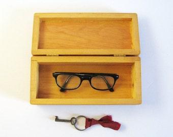 Vintage Wood Box with Hinged Lid - Wood Storage Box - Office Desk Organizer - Jewelry Box Trinket Box - Natural Home Decor - Wood Cigar Box