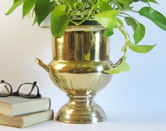 Vintage Champagne Ice Bucket - Brass Plated Urn with Handles - Large Footed Planter - Brass Barware Cocktail Party Decor - Plant Pot Holder