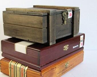 1 Wood Cigar Box w Hinged Lid & Brass Hardware - Wood Storage Box - DIY Wood Altered Art Craft Supplies - Travel Carry Case - Jewelry Box