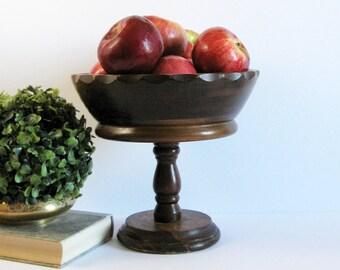 "Vintage Turned Wood Bowl - Pedestal Compote Bowl - 9"" Diameter Wood Fruit Bowl - Dark Wood Planter - Mid Century Decor - Wood Home Decor"
