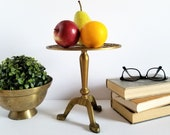 Vintage Brass Pedestal Display Stand with Flying Cranes - 8 quot Tall Brass Cake Stand - Footed Brass Teapot Kettle Stand - Asian Home Decor