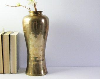 Vintage Tall Brass Flower Vase - Brass Home Decor - Heavy Brass Vase - Brass Wedding Decor - Hollywood Regency Ginger Jar - Made in India