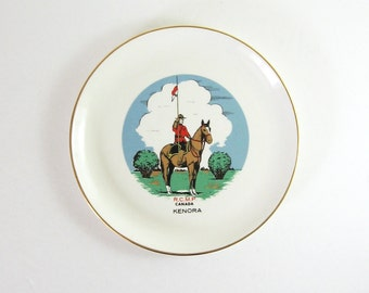 Vintage RCMP Souvenir Plate - Mid Century China Plate - Royal Canadian Mounted Police Horse Wall Decor - 22 Karat Gold Trim Made in Canada