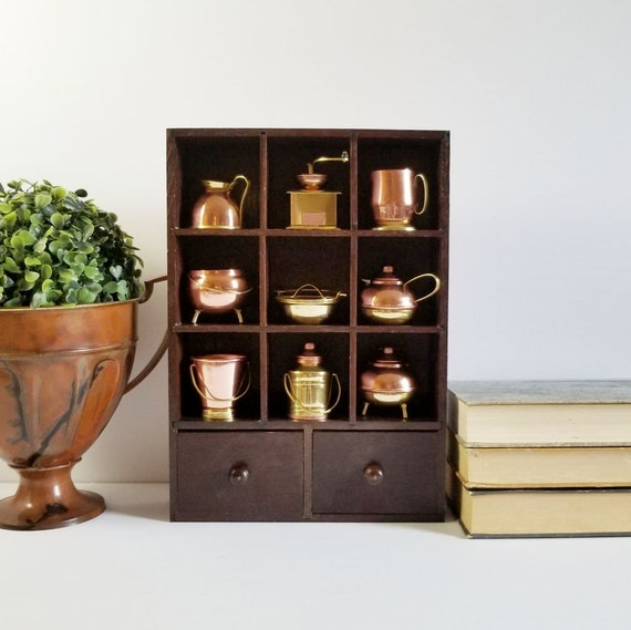 Miniature Dollhouse Kitchen Set Vintage Copper Brass Pots Etsy