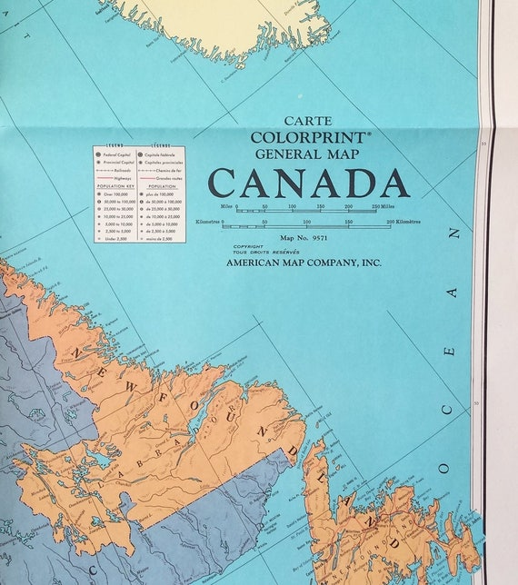 American Map Company Inc.Vintage Large Wall Map Of Canada 42x29 Giant Etsy