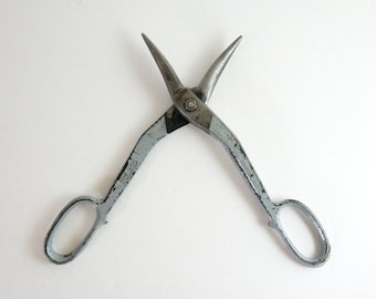 Vintage Forged Steel Scissors - Large Tin Snips - Ardex Made in Germany - Grey Office Decor - Industrial Metal Shears Cutting Tool Supplies