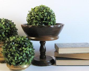 "Vintage Turned Wood Fruit Bowl - 9"" Diameter Pedestal Compote Bowl - Footed Wood Planter - Mid Century Wood Home Decor - Raised Planter Pot"