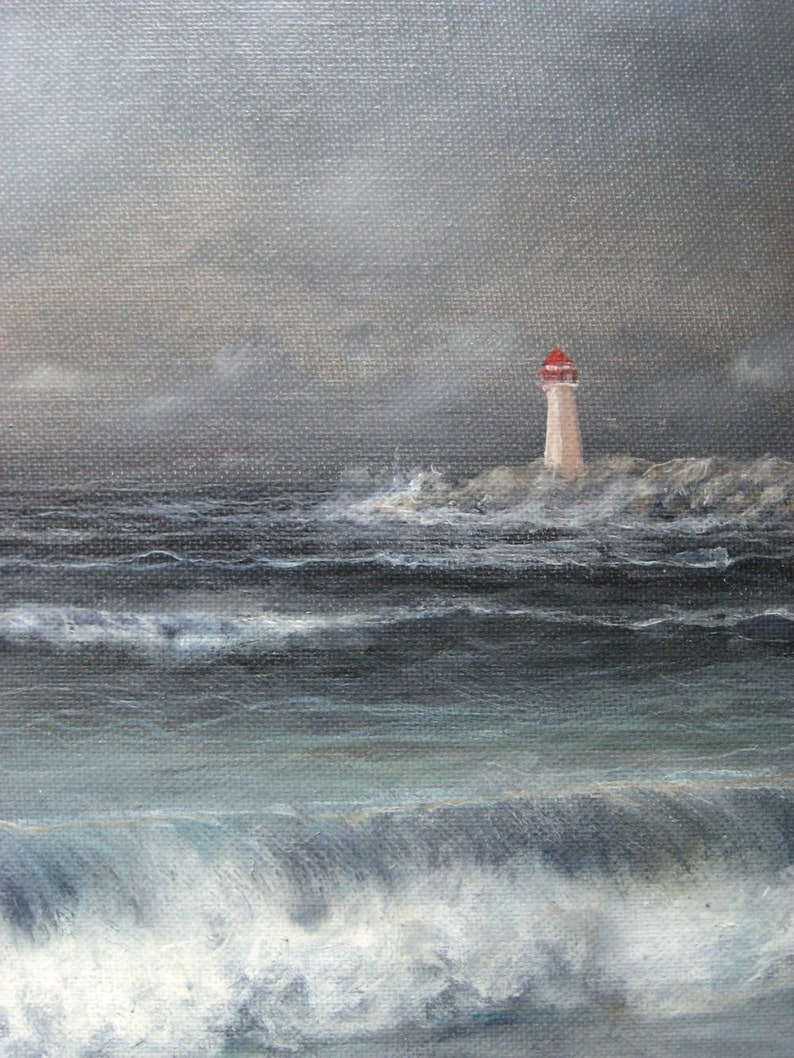 Blue Wall Decor 16x12 Vintage Oil Painting on Canvas Board Blue Seascape Painting w Lighthouse David Jean Signed Original Art