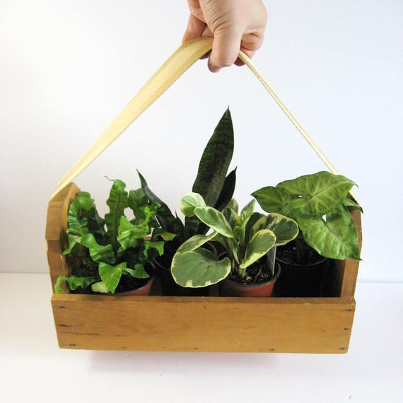 Vintage Wood Garden Planter Box Wood Tool Box With Webbing Etsy