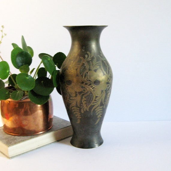 11 Tall Vintage Etched Brass Flower Vase Black And Etsy