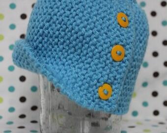 Baby Cloche Hat - Little Boy Blue (3-6 months)