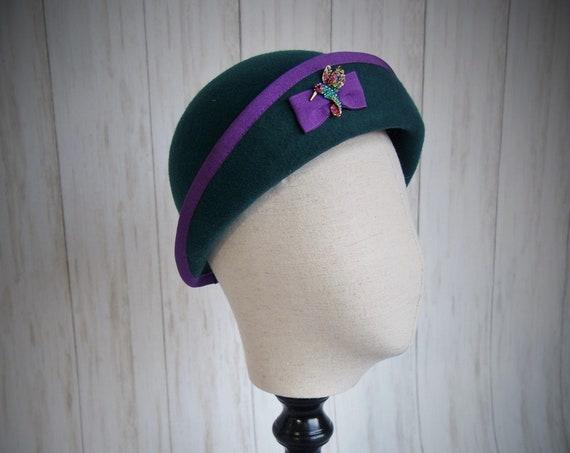 Teal Felt Cloche Hat