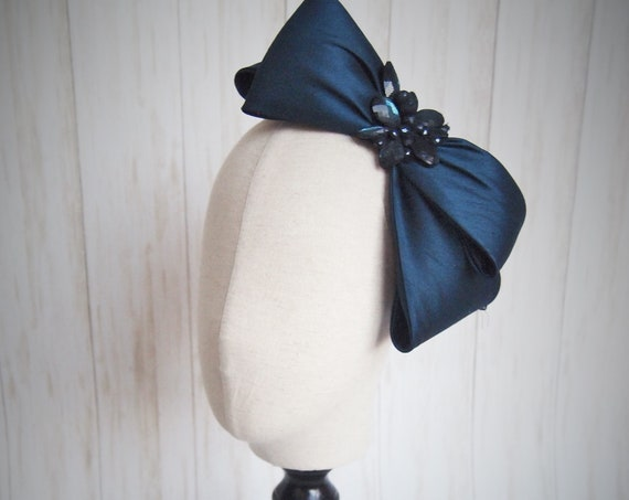 Blue Faux Silk Headpiece