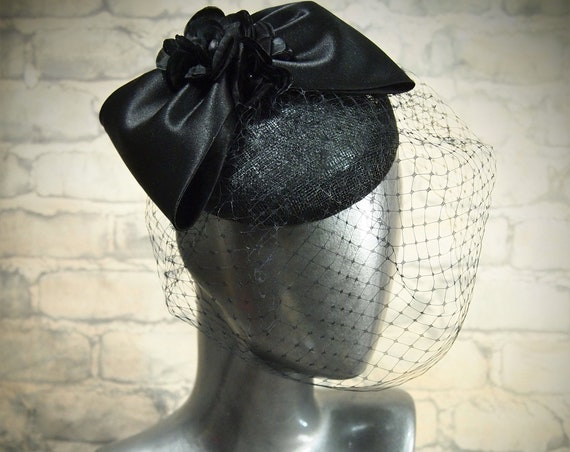 Sinamay Button Cocktail Hat