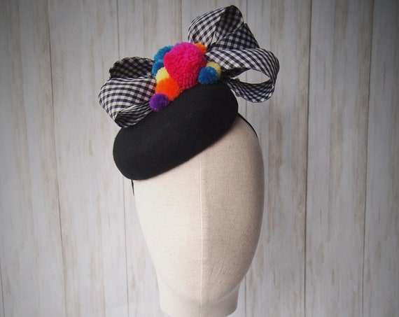 Pompom Pillbox Hat
