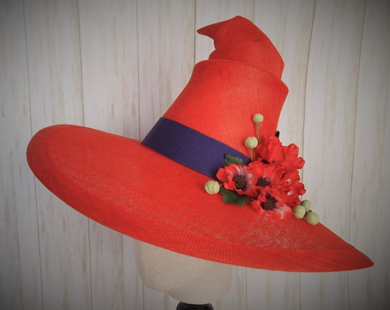 Red Sinamay Summer Witch Hat