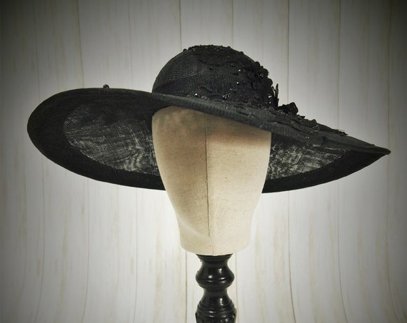 Black Sinamay Rhinestone Derby Hat