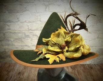 Olive Felt Witch Hat