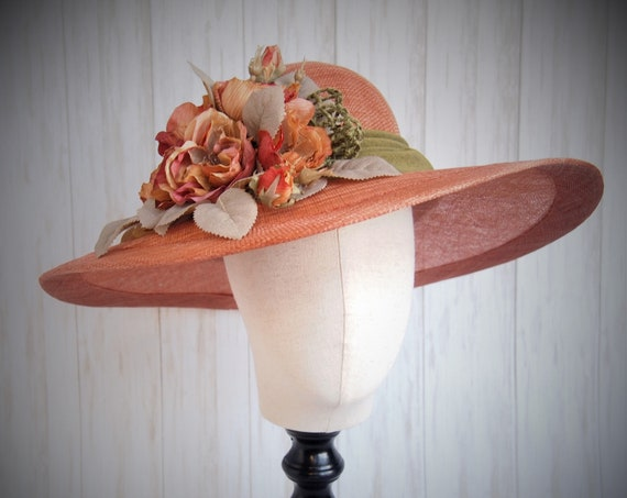 Dusty Coral Sinamay Derby Hat