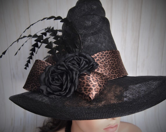 Leopard and Black Sinamay Summer Witch Hat