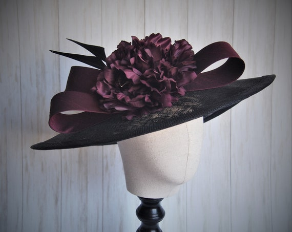 Black and Burgundy Sinamay Derby Hat