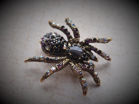 Rhinestone Spider Brooch