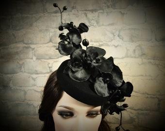 Black Orchid Pillbox Cocktail Hat