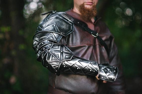 X-Mas Fantasy Cosplay Dwarven Armor Of Blackened Steel Pair Of Pauldrons