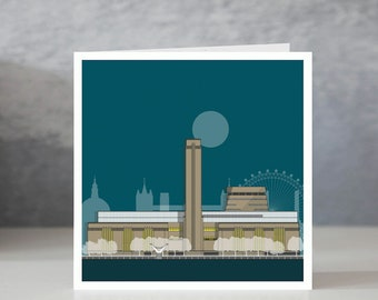 Tate Modern Blue Greeting Card / Gift for Architect / London Architecture / Architectural Greeting Card / Architectural Illustration
