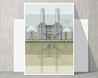 Architectural Blank Card - Battersea Power Station