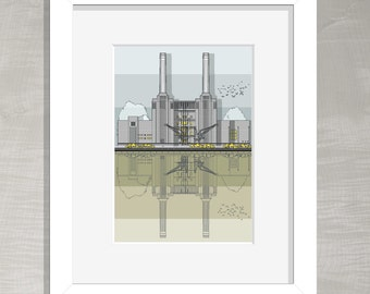London Architectural Print - Battersea Power Station
