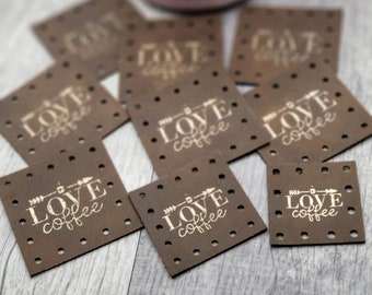 Love Coffee Faux Leather Patch!  Knit Patch!  Crochet Patches!  Cup Cozy Patches!  Coffee Mug!