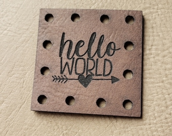 HELLO World Faux Leather Crochet Knitting Sewing Patches Beanie Patch -- BABY Theme Knit Hat Patches Product tags Blanket Patch!