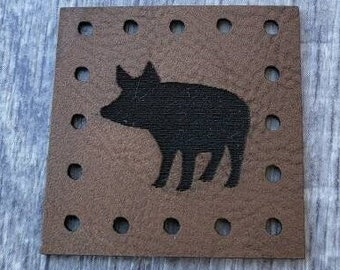 Pig PATCHES Faux Leather Patch!  Knit Hat Patch!  Crochet Beanie Patch!  Cup Cozy Patches!   Farm Animals! Country! Animal!