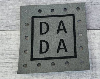 DA DA Patches Faux Leather Patch! Knit Hat Patch! Crochet Beanie Patch!  Baby Patches!  Blanket Patches!  Family! Siblings! Dad! Dada!