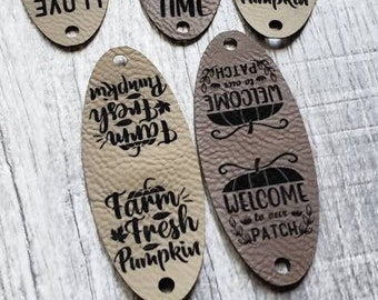 """PUMPKIN Stem Tags!  Faux Leather SQUATTY tags 1.25"""" X 3"""" Crochet Tags!  Knit Labels!  Sewing Tags!  Fold Over  Fall Tags! Decor Tags!"""