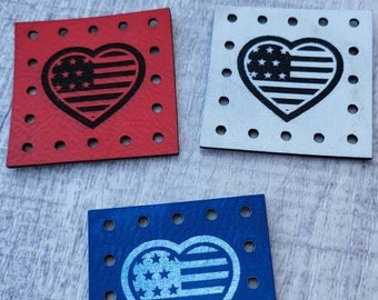 Heart! American Flag!  USA! Faux Leather Patch!  Knit Hat Patch!  Crochet Beanie Patch!  Cup Cozy Patches!  Coffee Mug! America